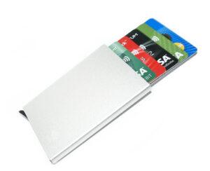 Silver korthållare skjuter Fram 5 kort - RFID säker