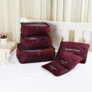 Vinröd 6st Insatser till resväskor