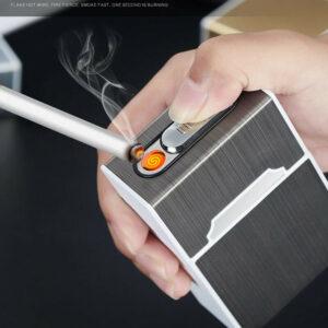 Silver Cigarettetui inbyggd usb tändare för hela cigarettpaketet