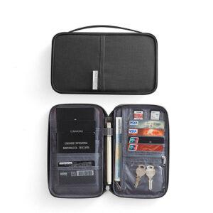 RFID Skydd - Svart universell Resa plånbok Passfodral