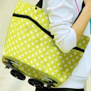 Smart Vikbar Shoppingväska på hjul Grön Vit