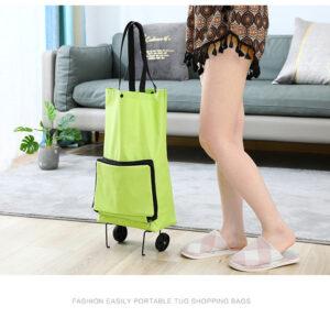 Smart Vikbar Shoppingväska på hjul Grön