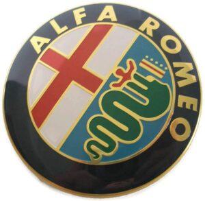 2X Guld 74mm Alfa Romeo Motorhuv Bagagelucka Emblem