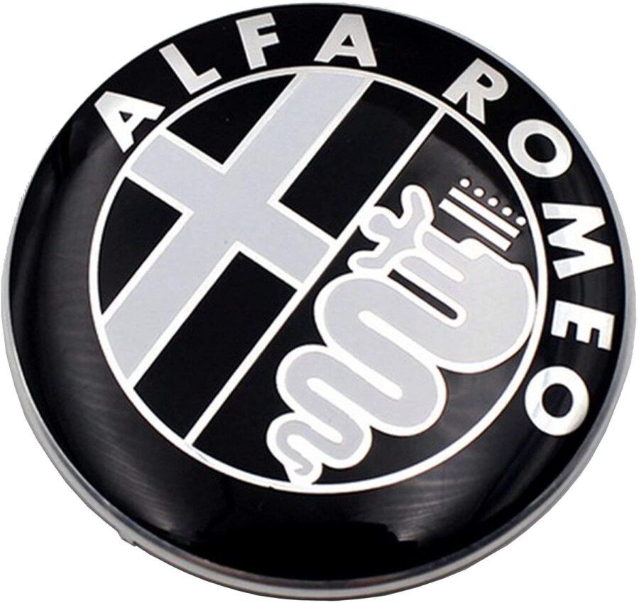 2X Svart 74mm Alfa Romeo Motorhuv Bagagelucka Emblem