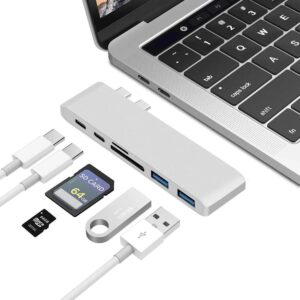 USB C Hub Thunderbolt 6 i 1 med 2x USB C Hanar