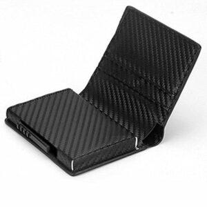 Carbon RFID - NFC Skydd Läder Plånbok med Sedelfack Korthållare