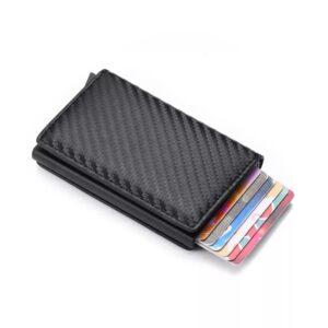 Carbon RFID - NFC Skydd Läder Plånbok Korthållare 6st Kort