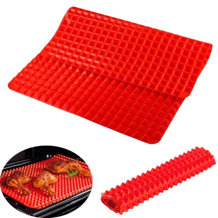 Non-Stick silikon ugnsmatta, Pyramid format hälsosam matlagning.