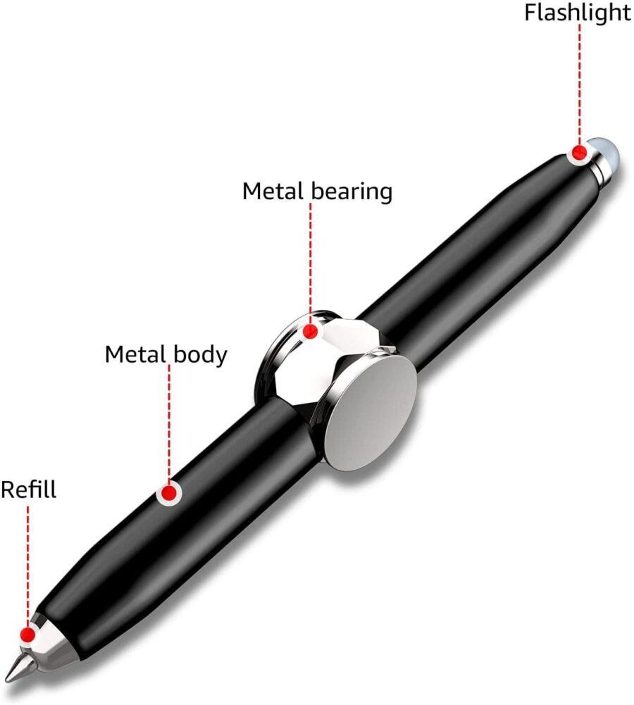 Silver Fidget Penna 3 i 1 Penna, Fidget , Led Lampa