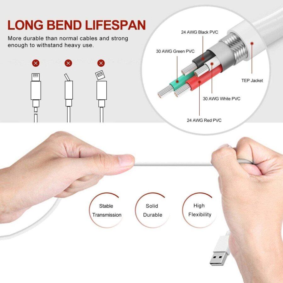 Lightning USB kabel till Apple (2 Meter)