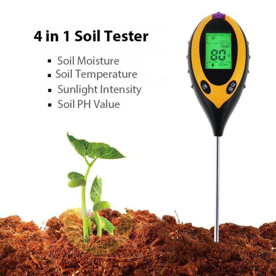 4 i 1 Digital pH mätare för jord, fukt, ljus, jordtemperatur