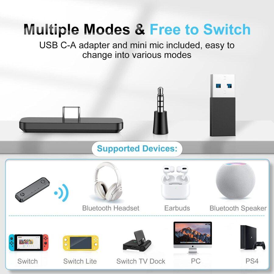 Bluetooth adapter Kompatibel med Nintendo Switch/lite BT 5.0